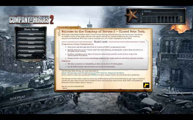 Company of Heroes 2 Beta