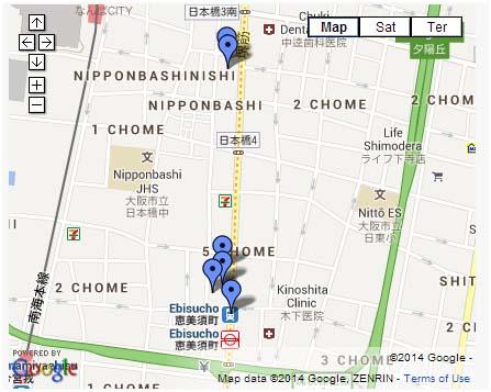 Mapa de Den Den Town, Osaka
