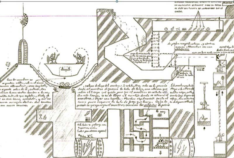 Abel diseñó un juego de plataformas, sobre el papel, con 14 años. Conserva todos sus apuntes y esquemas de niveles.