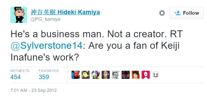 Kamiya sobre Inafune en 2012.
