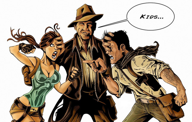 https://www.walldevil.com/7136-artwork-funny-indiana-jones-lara-croft-nathan-drake-uncharted-women.html
